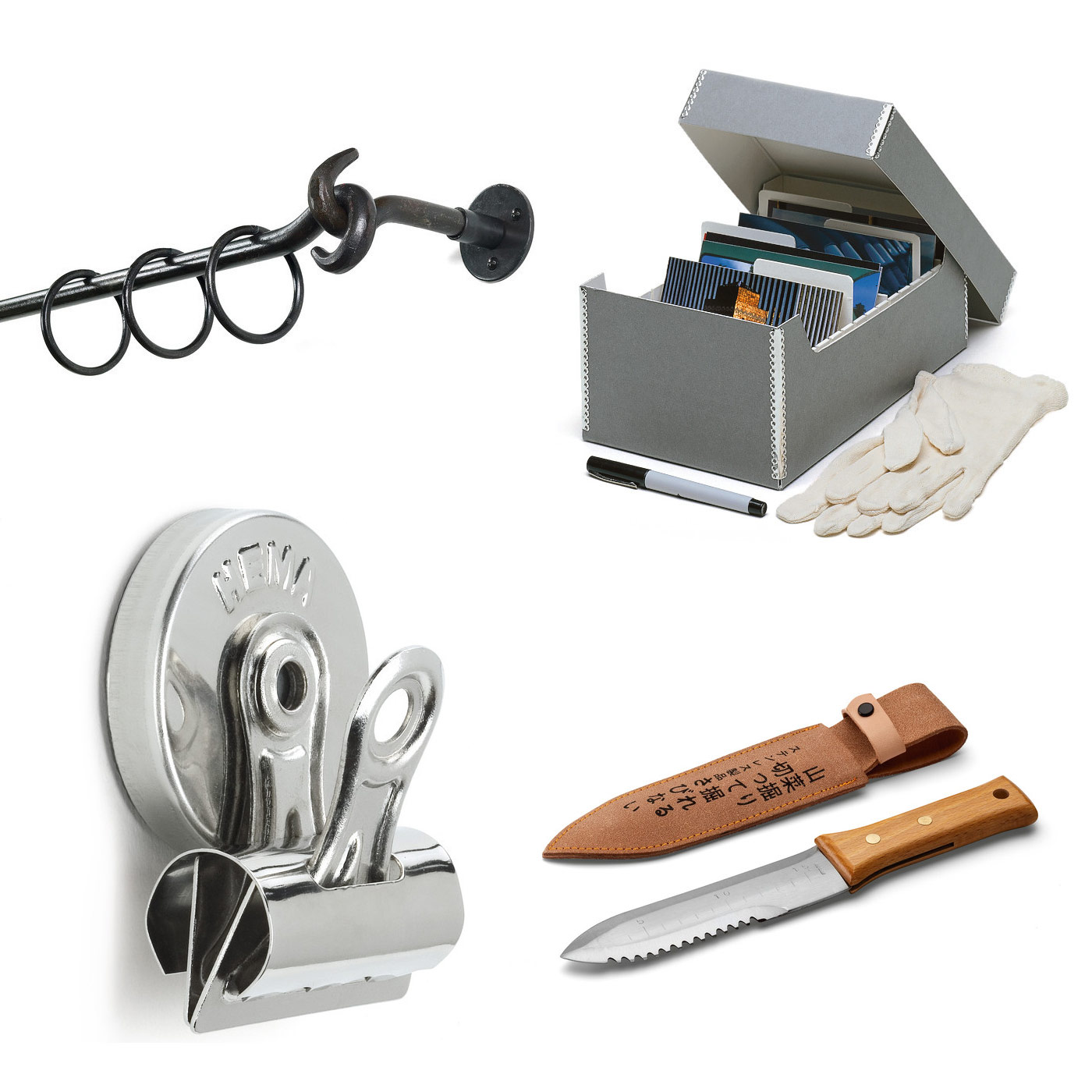 Clockwise from top left: Forged steel curtain set, Archive box set, Japanese plant knife, Magnetic paper clamps