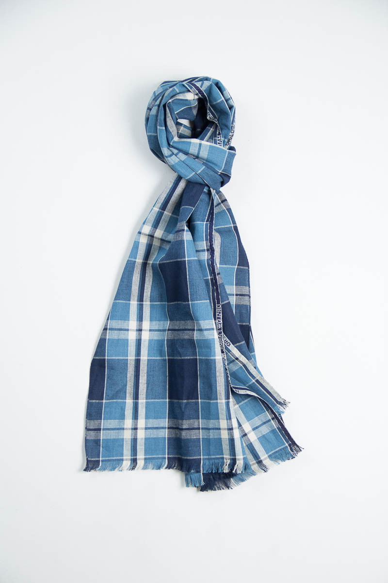 Indigo/Blue Check Scarf