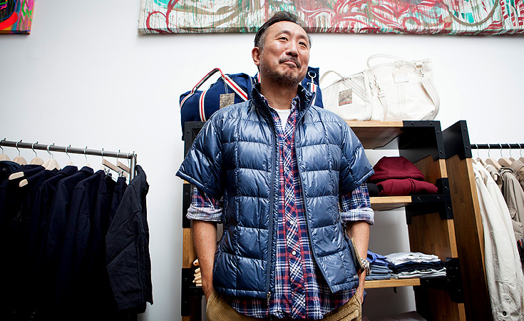 Engineered Garment's Daiki Suzuki sporting the Mont Bell UL Down Tee